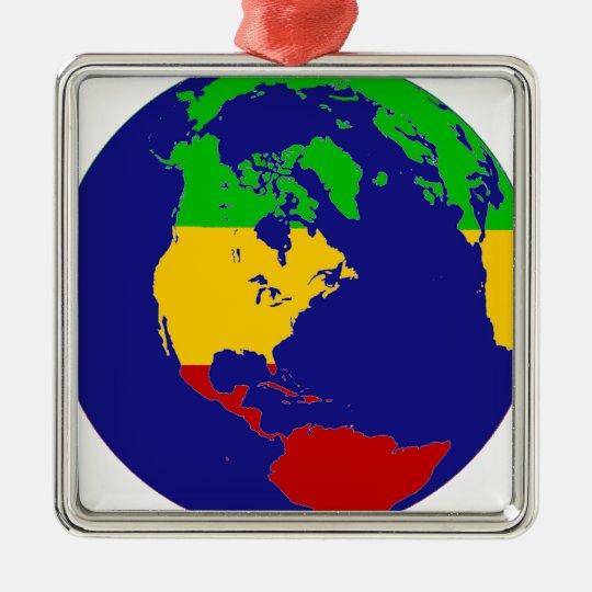 Rasta Planet Earth Metal Ornament