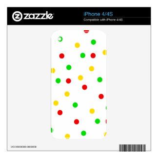 Rasta Polka Dots Decal For iPhone 4