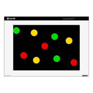 "Rasta Polka Dots on Black Decal For 15"" Laptop"