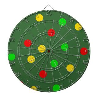 Rasta Polka Dots on Olive Green Dartboard