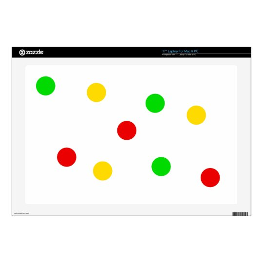 "Rasta Polka Dots on White 17"" Laptop Skins"