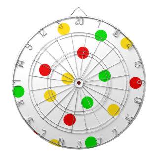 Rasta Polka Dots on White Dartboard With Darts