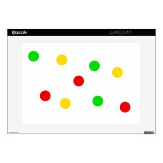 Rasta Polka Dots on White Laptop Skins