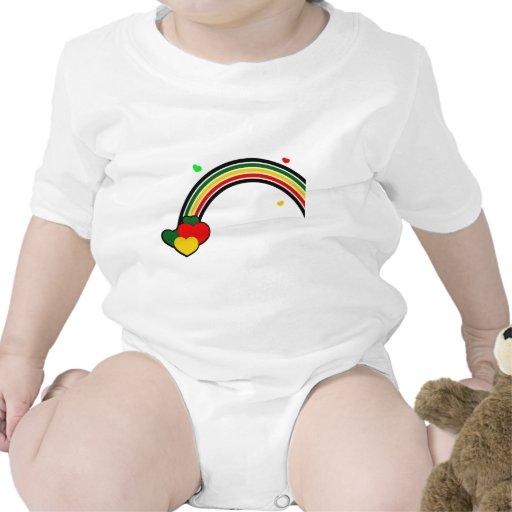 Rasta Rainbow and Hearts Baby Bodysuits