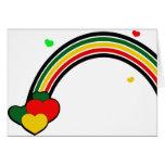 Rasta Rainbow and Hearts Greeting Card