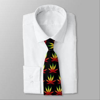 Rasta Rastafarian Reggae Jamaica Leaf Black Tie