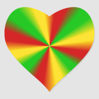 Rasta Rays Green Yellow and Red Heart Stickers