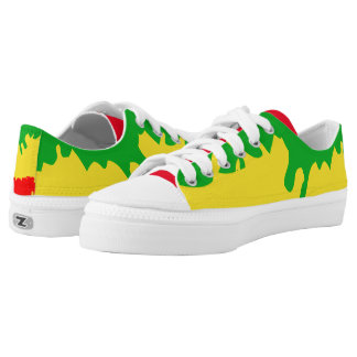 Rasta Red Green Gold Paint Splatter Shoe