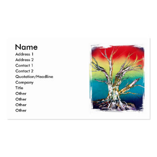 Rasta red yellow green deadwood tree painting Double-Sided standard business cards (Pack of 100)