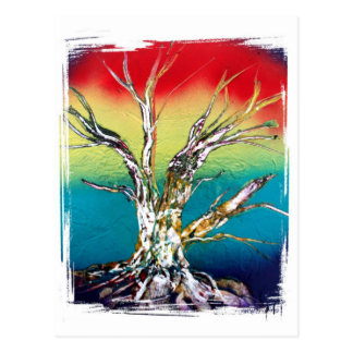 Rasta red yellow green deadwood tree painting postcard