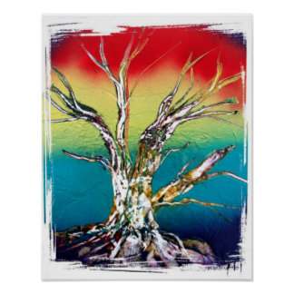 Rasta red yellow green deadwood tree painting poster