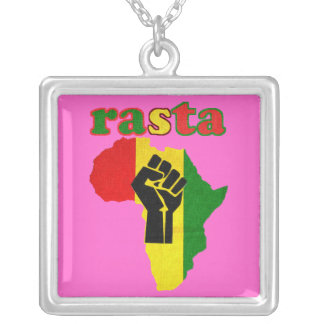 Rasta Reggae Africa Sterling Silver Plated Necklac Square Pendant Necklace
