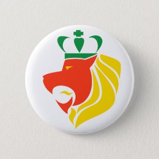 Rasta Reggae Crowned Lion Button