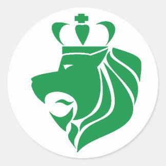 Rasta Reggae Crowned Lion Green Classic Round Sticker