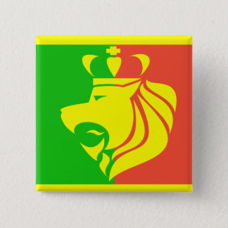 Rasta Reggae Flag and Lion Button
