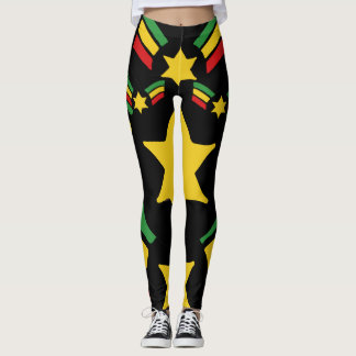 Rasta Reggae Leggings Military Stars Design