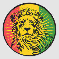rasta reggae lion flag classic round sticker