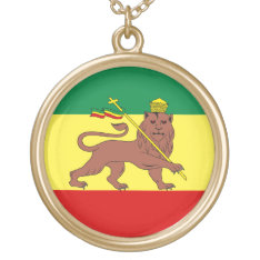 Rasta Reggae Lion of Judah Gold Plated Necklace at Zazzle