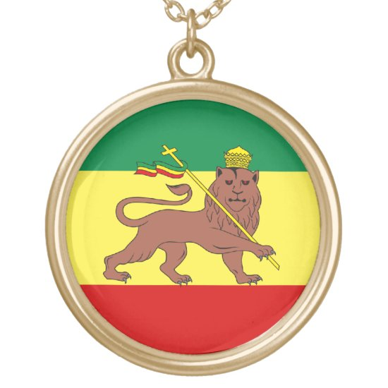 Rasta Reggae Lion of Judah Gold Plated Necklace