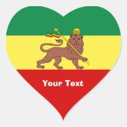 Rasta Reggae Lion of Judah Heart Sticker at Zazzle