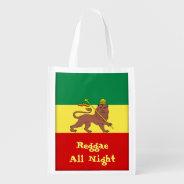 Rasta Reggae Lion of Judah Reggae All Night Reusable Grocery Bags at Zazzle