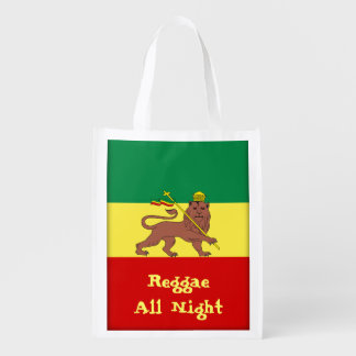 Rasta Reggae Lion of Judah Reggae All Night Reusable Grocery Bags