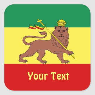These sheets of stickers feature a Rasta Reggae theme with the flag of Ethiopia of 1897 consisting of horizontal bands of green, yellow and red with a dark Lion of Judah at the center, wearing a crown and holding a cross.
