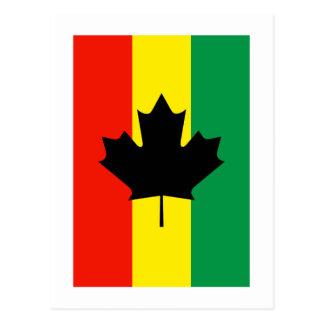 Rasta Reggae Maple Leaf Flag Postcard