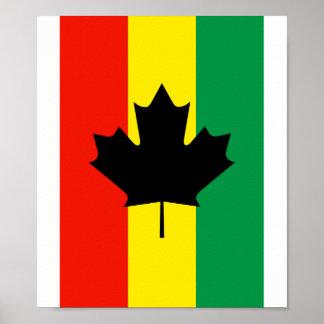 Rasta Reggae Maple Leaf Flag Posters