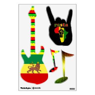 Rasta Reggae Music Wall Stickers Electric Guitar