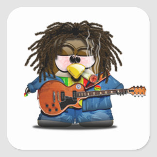 Rasta Rocker Reggae Tux Square Sticker