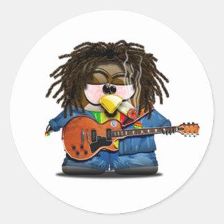 Rasta Rocker Reggae Tux Round Stickers
