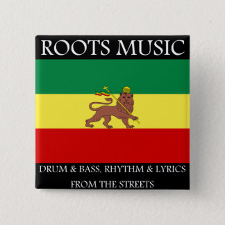 Rasta - Roots Music Ethiopia Flag Lion of Judah Pinback Button