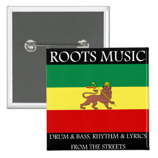 Rasta - Roots Music Ethiopia Flag Lion of Judah Pinback Button