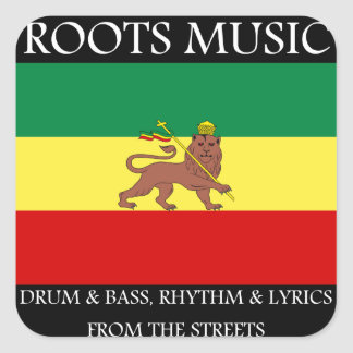 Rasta - Roots Music Ethiopia Flag Lion of Judah Square Sticker