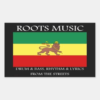 Rasta - Roots Music Ethiopia Flag Lion of Judah Rectangular Stickers