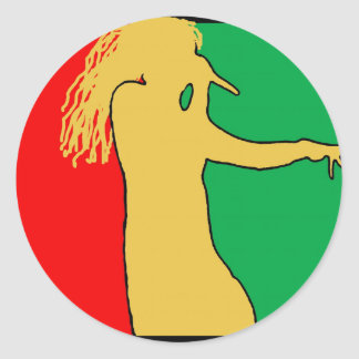 Rasta Singer Silhouette Classic Round Sticker