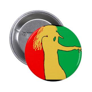 Rasta Singer Silhouette Pinback Button