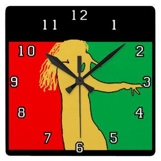 Rasta Singer Silhouette Square Wall Clock