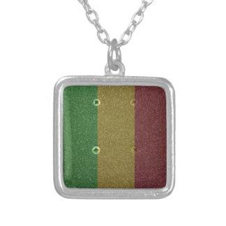 Rasta Skateboard Griptape Silver Plated Necklace