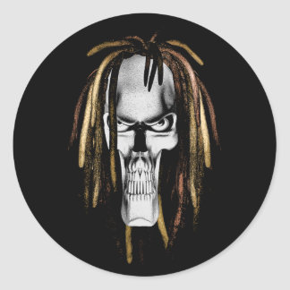 Rasta Skull Classic Round Sticker