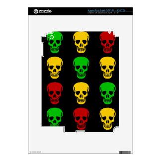 Rasta Skulls Skin For iPad 3