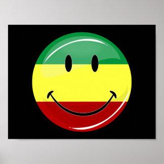 Rasta sonriente brillante colorea la bandera posters
