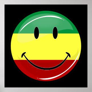 Rasta sonriente brillante colorea la bandera poster