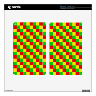 Rasta Squares Decal For Kindle Fire