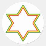 Rasta Star of David Classic Round Sticker