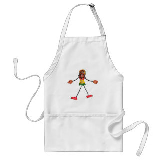 Rasta Stick Figure with Gold Peace Sign Adult Apron