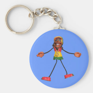 Rasta Stick Figure with Gold Peace Sign Keychain