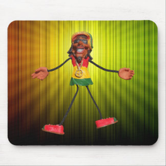 Rasta Stick Figure with Gold Peace Sign Mouse Pads