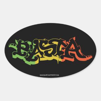 Rasta Sticker Oval Black Colored